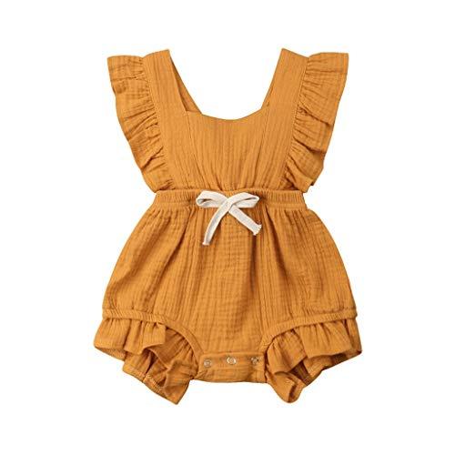 JUTOO Neugeborenes Baby Mädchen Kinder Farbe einfarbig Rüschen Rückkreuzspielanzug Bodysuit Outfits (Gelb,70)