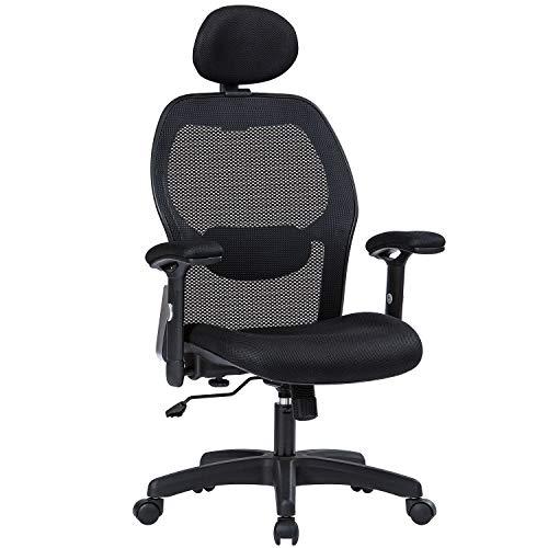 balt office chair ergonomics Office Chair Ergonomic Office Chair Adjustable Office Chair with Lumbar Support Armrest Headrest High Back Tast Chair for Home and Office (Black)
