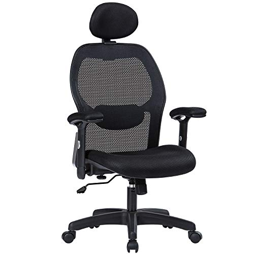 Office Chair Ergonomic Office Chair Adjustable Office Chair with Lumbar Support Armrest Headrest High Back Tast Chair for Home and Office (Black)
