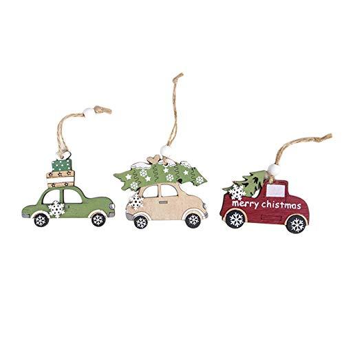 unknow Schwenly - 3 colgantes de madera pintada para decoración de coche, árbol de Navidad, color de la foto 1, S
