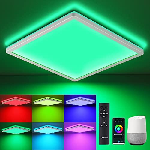 Lámpara LED de techo con mando a distancia WIFI, 18 W, OPPEARL, plana, RGB, cambio de color, lámpara de techo para habitación de los oficina, compatible con Alexa Google Home 4000 K, blanco neutro