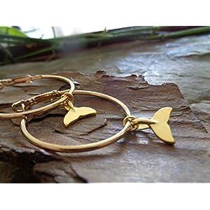 ◦•●◉ஐ GOLDENE 3,5 CM CREOLEN MIT WALSCHWANZ ஐ◉●•◦ mittelgroße OHRRINGE & GOLD Wal Schwanz, Fisch, Greenpeace…