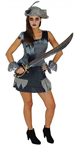 Foxxeo Geister Piraten Kostüm für Damen zu Fasching Karneval Halloween mit Piratenhut Piratenkleid und Stulpen Größe XL