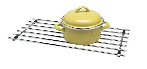 CKB LTD® – Dessous de plat taille moyenne, rectangulaire en acier chromé, protection de plan de travail en métal pour poser casseroles et poêles, 40 x 24 cm