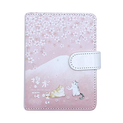 Cherry Blossoms Cartoon Cat PU Cover Notebook Diary Notepad Memo for Children Kids Students Office