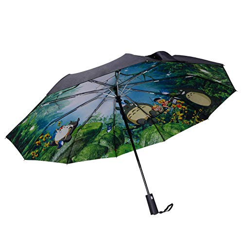 BLACK ELL Resistente al Viento,Paraguas de Viaje,Viento Muy Compacto PequeñO Paraguas,Paraguas Plegable automático de Doble Capa, Parasol de protección UV-Negro_10 acciones