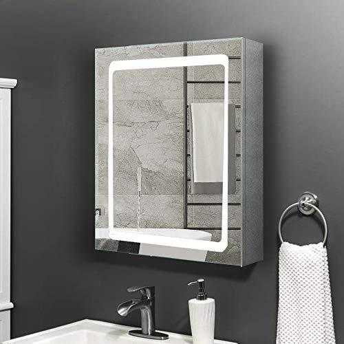 Janboe badmöbel für kleine Einzeltür beleuchteter LED-Spiegelschrank für Badezimmer aus rostfreiem Edelstahl, Infrarot Sensor + Antibeschlag-Pad für Make-up-Kosmetik 500 x 700 x 130 mm