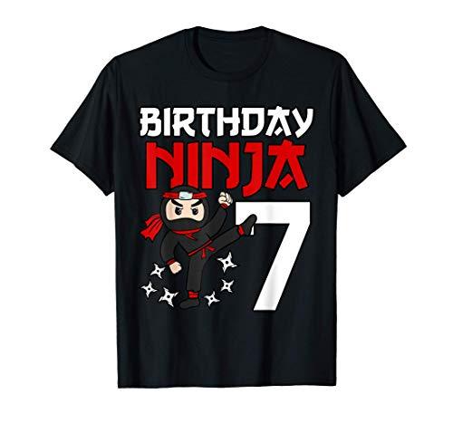 7 Years Old Birthday Party 7th Ninja Japanese Shinobi T-Shirt