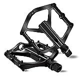 Rmolitty Pedali Flat MTB, Bicicletta Pedali, Pedali Durevole Ultraleggeri Antiscivolo in Alluminio per Bici da Strada BMX/MTB 9/16' (Nero)