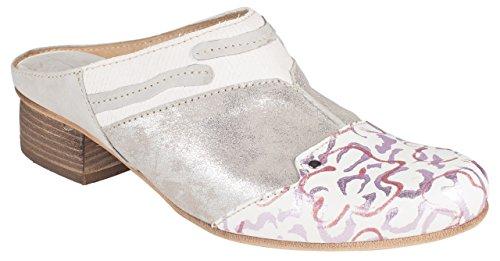 Charme Dame Pantolette Grau/Weiss/Silber (37 EU)