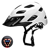 Exclusky CE Certified Adjustable Lightweight Adult Cycling Bike Helmet with USB Rear Light for Urban Commuter Men/Women 22.05-24.01 Inches (white)