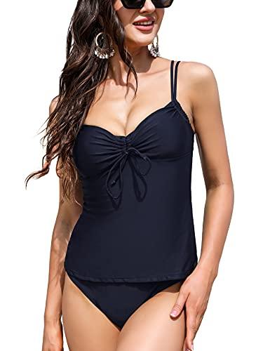 Irevial Tankini Mujer Elegante Traje de Baño de Dos Piezas Push-Up con Cuello en V Vest + Short de Baño Traje Tirantes Ajustables Swimsuit para Verano Azul Real, XXL