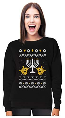 Tstars Funny Jewish Holidays Ugly Christmas Hanukkah Women Sweatshirt Large Black