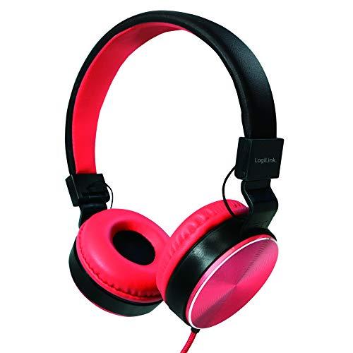 LogiLink HS0049RD - Eleganter, faltbarer Stereo Kopfhörer mit hoher Klangqualität + hohem Tragekomfort, Rot