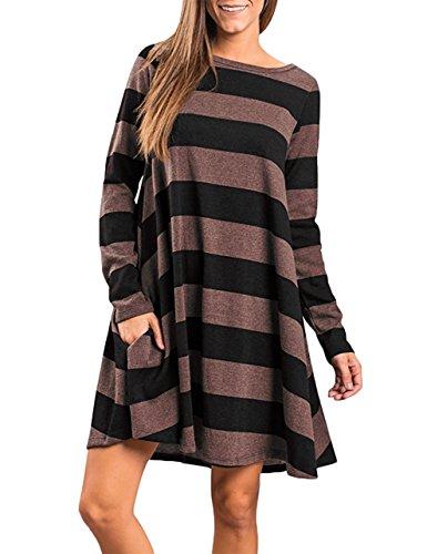 Faddare Stripe Dresses for Women Casual,Novelty Designer Clothes,Stripes Brown L