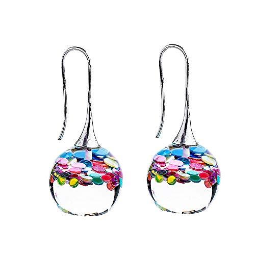 FASHLOVE Pendientes de bola mágica de resina creativa, cien gotas de cristal coloridas para la oreja. Tamaño: 4,2 x 2 cm. Color: