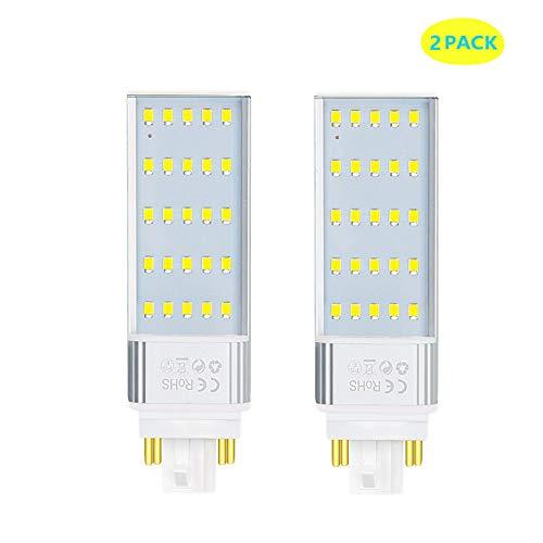 Luxvista GX24Q 7W 4 Pins Bombilla de Maíz PL LED, 2x Lámpara Fluorescente GX24Q de Enchufe Horizontal 4P LED de Pera CFL, Introdujo iluminación para KTV/Bar/Habitación/Hotel (Blanco Frío 6000K)