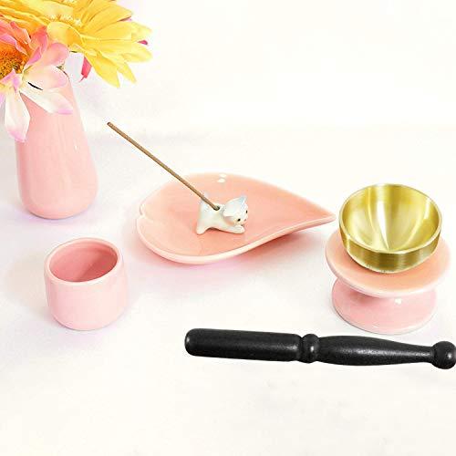 ペット仏具 6点セット ピンク おりん(こりん) ネコ型お線香立て ハート型お香皿つき