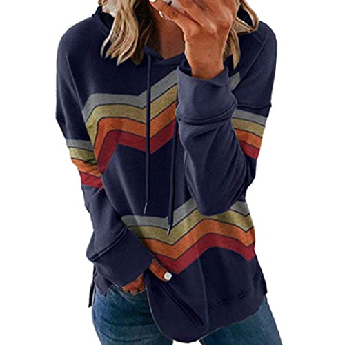 Tekaopuer Sudadera de manga larga a rayas, con capucha de color en contraste, sudadera con capucha informal para mujer, azul oscuro, 3XL