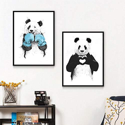 WADPJ Grappige boxing Panda dier Banksy canvas schilderij kleuterschool POP muurkunst foto's posters voor kinderkamer wooncultuur 40x60 cmx2 stuks geen lijst