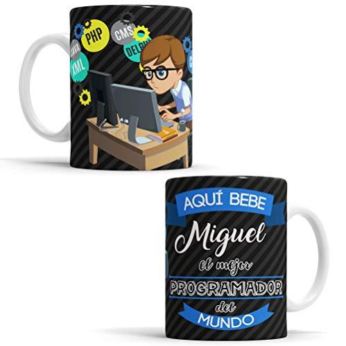 OyC Original y Creativo Taza para Programador - Taza Aquí Bebe El Mejor Programador del Mundo - Taza Regalo para Programador - Taza con Frase y Dibujo Personalizada con Nombre (Programador)