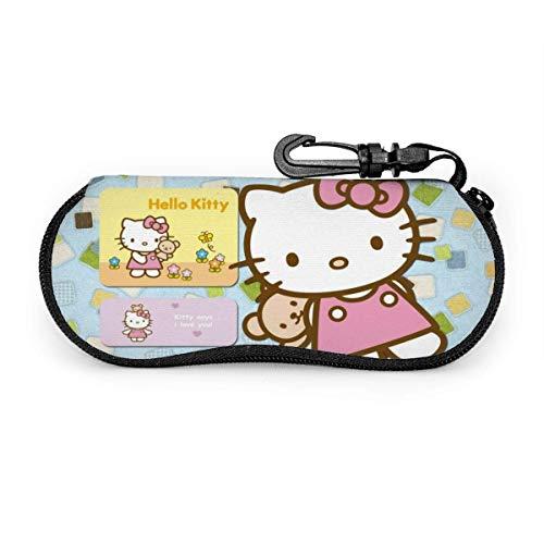 Estuche para anteojos Estuche para gafas de sol Hello Kitty Estuche para anteojos con cremallera de neopreno ultra suave y ligero con clip para cinturón