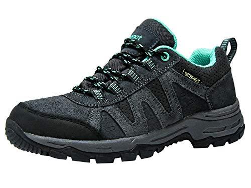 riemot Zapatillas Trekking para Mujer y Hombre, Zapatos de Senderismo Calzado de Montaña Escalada Aire Libre Impermeable Ligero Antideslizantes Zapatillas de Trail Running, Mujer Gris Verde 40 EU