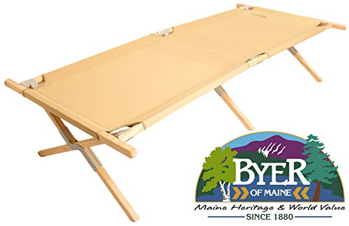 BYER OF MAINE, Maine Heritage Cot, Extra Large, Holds 375lbs, North American Hardwood Frame, 84'L x 31'W x 18'H, Wood Cot, Army Cot, Wooden Cot, Camping Cot, Sleeping Cot, Folding Cot, Single
