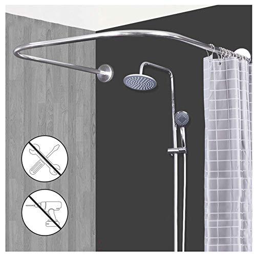 M-TOP U gevormde gebogen douchestang rekbaar 304 roestvrij hoek douchegordijnstang zonder boren, anti-roest, voor badkamer, bad