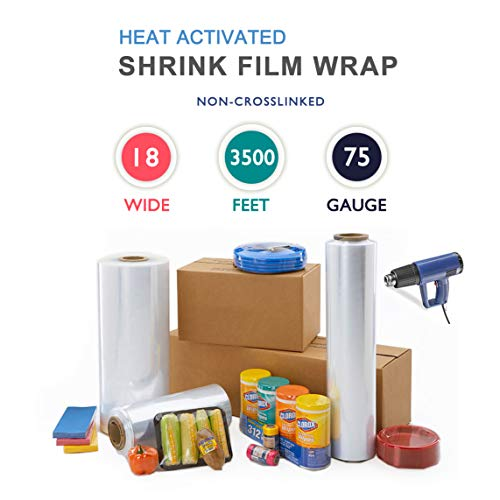 """18"""" x 3500 ft. Heat Shrink Film Wrap Strong Centerfold Polyolefin 75 Gauge Heat Activated Shrink Wrap, 1 Roll"""