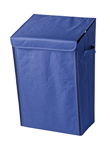 Wenko 62023100 Mobiler Wand Wäschesammler, Wäschekorb, Kunststoff - Polyester, Fassungsvermögen 30 L, 33 x 54 x 26 cm, blau