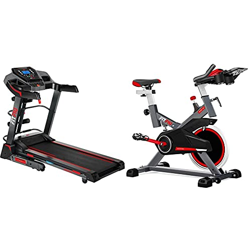 Fitfiu Fitness MC-500 Cinta de Correr Plegable con inclinación automática + BESP-100 Bicicleta Indoor con Disco de inercia de 16 kg y Resistencia Regulable