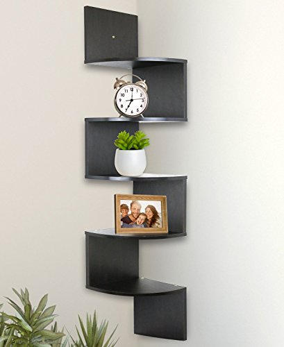 Greenco 5 Tier Wall Mount Corner Shelves Espresso Finish , 7.75' L x 7.75' W x 48.5' H.