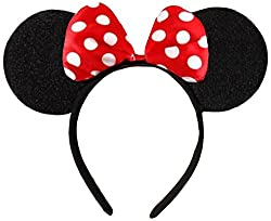 "Black with red or pink bow & white polka dot Minnie mouse Disney fancy dress ears head band Cute Disney's Black Minnie Mouse Ears (3 3/4"" x 5"" high - 9.5cm x 7.5cm - at widest points) Decorated with satin red & white or pink & white polka dot bow. So..."