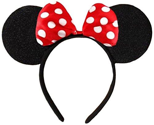 Rot (Minnie Mouse Alice Ears) Ohren Schwarz mit Rot u. Weiße Tupfen Satin Bogen Minnie Maus Disney Kostümgeschäfte Haarband