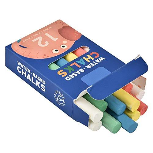DEWIN 12pcs/Box Pizarra ecológica Lavable Tiza de Color, tizas sin Polvo de Graffiti no tóxicas para niños(Elefante)