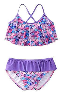 Adolife Girls Ruffle Falbala Bikini Swimsuits Two Pieces Swimwear Purple 3D Printed Mermaid Bathing Suits Criss Cross Back Top Tankini 8-9 Years
