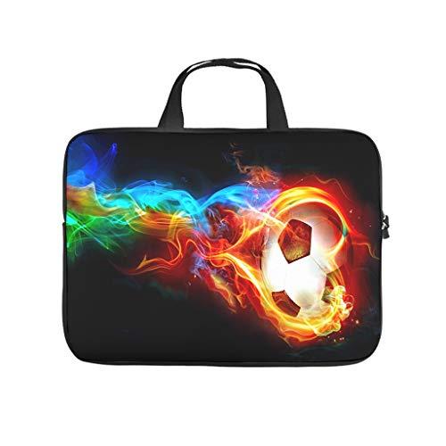 Funda para portátil con diseño de balón de fútbol con colorido flame, resistente al agua, para ordenador portátil, a medida, para universidad, trabajo o negocios.