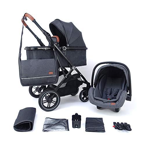 Pixini Kinderwagen Lania 3in1 Urban black (inkl. Autositz, Regenplane, Wickeltasche.)