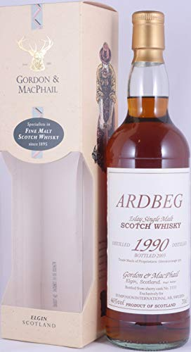 Ardbeg 1990 13 Years Islay Single Malt Scotch Whisky Single Sherry Cask No. 3133 exclusiv von Gordon and MacPhail für Symposion International AB in Schweden - eine von 403 Flaschen und absolute Rarität!