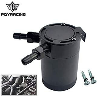 PQY Compact Baffled 2-Port Oil Catch Can Tank M16×1.5 Inlet Outlet 160ml