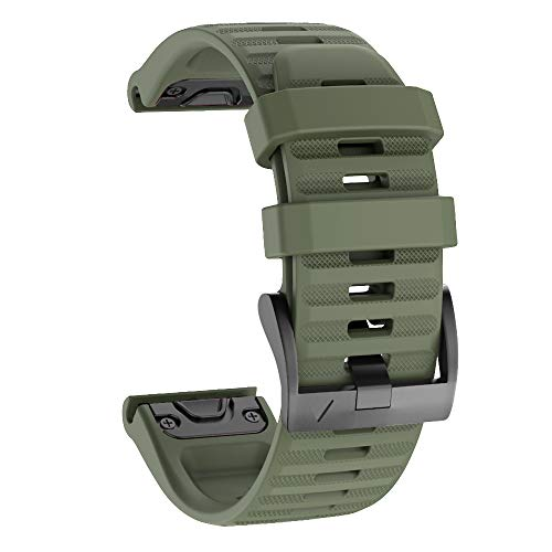 Isabake Correa de Reloj para Garmin Fenix 6X / 6X Pro, Fenix 5X / 5X Plus, Accesorios Fenix 3/3 HR, Banda QuickFit de 26 mm de Ancho (VerdeDelEjército)