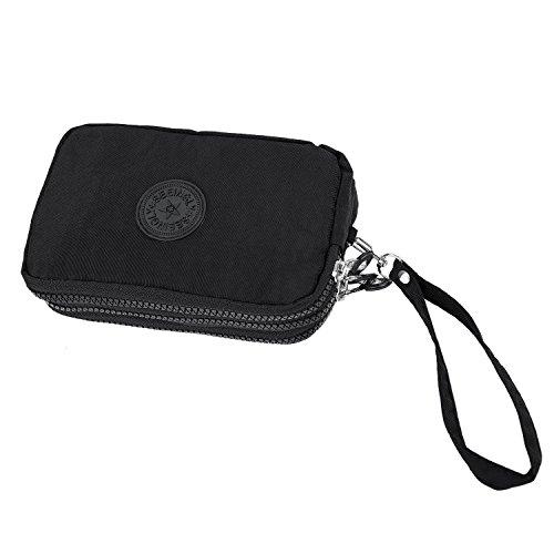 TOOGOO Las mujeres pequenas de la carpeta de la arruga el bolso del telefono de la tela tres cremalleras portatiles Bolsa de cosmeticos negro