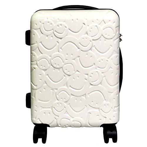 スーツケース キャラクター Wキャスター TSAロック搭載 可愛い スマイル(62528) (白)