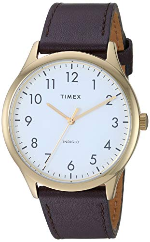 Timex TW2T71600 Men's Modern Easy Reader 40mm Brown Leather Strap Watch
