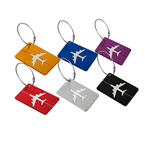 Luggage Tags, Aluminum Strip and Airplane Pattern Luggage Labels Name Address Holder for Travel Business Trip-6 Pack and Different Color