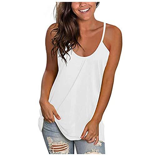 Lalaluka Camiseta sin mangas para mujer, sexy, de un solo color, moderna, para verano, con tirantes, básica, deportiva Blanco M