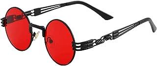 Sunglass, DELFINO Round Steampunk Retro Metal Circle Frame John Lennon Hippie Glasses Clip On Sunglasses Steampunk Style a...