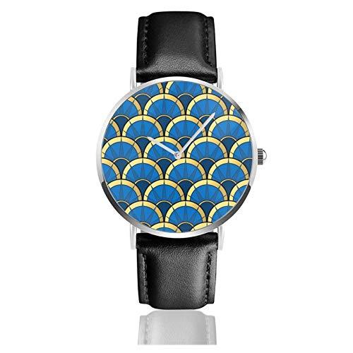 Art Deco Abanico de lujo en azul marino y oro clásico reloj de cuarzo casual acero inoxidable correa de cuero negro relojes de pulsera