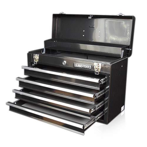 US Pro Werkzeugkasten, 4 Schubladen, tragbar, glänzend, schwarz